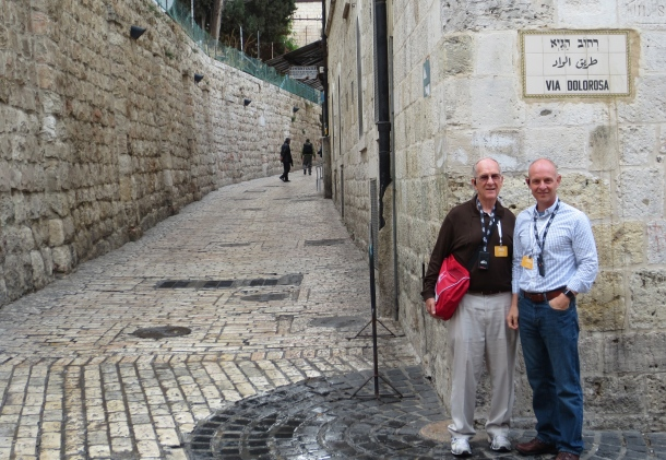 Standing on the Via Dolorosa, the path that Jesus was led on with his cross on the way to be crucified.