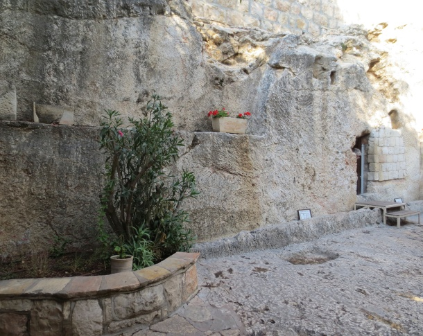 Broader view of supposed site fo Jesus' tomb. Notice the track at the bottom for the large stone/wheel.